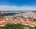 View of Charles Bridge over Vltava river and Old city from Petri Royalty Free Stock Photo