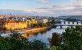 View on Charles bridge over Vltava river in Prague,capital city Royalty Free Stock Photo