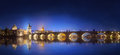 View on Charles Bridge in Prague at night Royalty Free Stock Photo