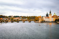 View on charles bridge and vltava river in prague czech republic Stock Image