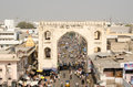 View from charminar tower hyderabad andhra pradesh india january of the busy bazaar of hyderabad the city is a centre of the pearl Stock Photo