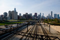 View of chicago with railroad tracks Royalty Free Stock Photo