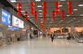 A view of chinese lanterns hanging and pace of emerging modern suvarnabhumi airport depicting growing rising economy of asian Stock Photos