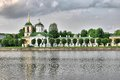 View of the church with a bell tower, Kuskovo, Moscow Royalty Free Stock Photo