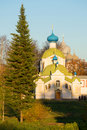 View of church of the Icon of the Mother of God Tikhvin. Tikhvin Uspensky monastery, Russia Royalty Free Stock Photo