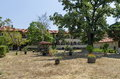 View of churchyard with old and reconstructive building in the  Batkun Monastery Royalty Free Stock Photo