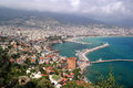 View of the city Alanya, fortress, red tower, bay Royalty Free Stock Photo