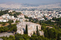 View of city Athens and group of tourists Stock Images