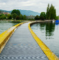 View of the city of biel pier and metal gratings for pedestrians in port switzerland Stock Photo