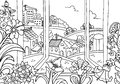 The view from the window illustration coloring