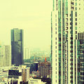 View of the city with a instagram filter