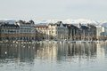 View of the city and Lake Geneva in Switzerland Royalty Free Stock Photo