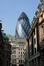 View of the City of London with Gherkin Royalty Free Stock Photo