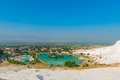 View of the city from the mountain in Pamukkale Royalty Free Stock Photo