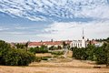 View of the city par with pond a lake and town church Royalty Free Stock Images