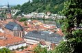 View of the city from the path leading to the castle of Heidelberg, Germany Royalty Free Stock Photo