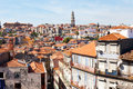 View of the city of porto houses around ribeira and church klerigush igreja dos clerigos Stock Photography