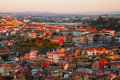View on city Porto in sunset Royalty Free Stock Photos