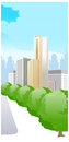 The view of city with trees and sky Royalty Free Stock Photo