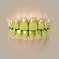 View on clean pure white golden or unhealthy teeth Royalty Free Stock Photo