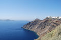 View of the cliffs of Fira and Imerovigli Stock Photo