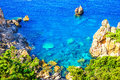 View of cliffside coastline on greek island corfu Stock Photo