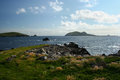 View of coast of blasket islands from dingle peninsula from pasture a the the wild wind and sea swept the western Royalty Free Stock Images