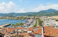 View of coastal resort city from tiled  roof top Royalty Free Stock Photo