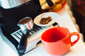 View of coffee maker with cup and star anise Royalty Free Stock Photo