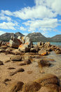 View coles bay to mountains called hazards freycinet national park tasmania Stock Photo