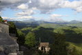 View from collalto sabino in the province of rieti italy the castle you can see the valley the mountains that surround it and Royalty Free Stock Photography