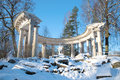 View of the colonnade of Apollo in Pavlovsk palace park on a sunny February day. Saint Petersburg Royalty Free Stock Photo