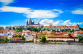 View of colorful old town and Prague castle with river Royalty Free Stock Photo