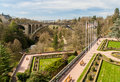 View of constitution square and adolphe bridge in luxembourg city Royalty Free Stock Photos
