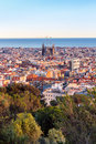 View of the construction sagrada familia and over the sea of houses in barcelona with approx million inhabitants barcelona is Stock Photography