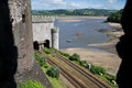 View from Conwy Castle over the Conwy river Royalty Free Stock Photo
