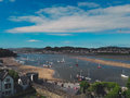 View of Conwy city and river from the castle Royalty Free Stock Photo