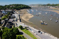 View on Conwy harbor and river from the medieval castle Royalty Free Stock Photo