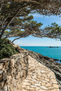 View costa brava pathway aiguafreda small coastal village Royalty Free Stock Photo
