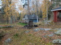 View of the cottage by lake in forest renting for a weekend getaway finland Stock Images