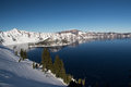View crater lake winter Stock Photos