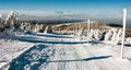 View of crosscountry skiing way and mount Serak Royalty Free Stock Photo