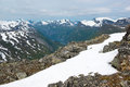 View from Dalsnibba mountain to Geiranger fjord and mountain peaks, Norway Royalty Free Stock Photo
