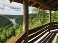 View of the dam brezova to the valley tepelske udoli from a wooden hut on the hill in karlovarsky kraj region in czech republic Royalty Free Stock Photos
