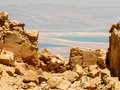 View of Dead Sea from Masada Archaeological Site Royalty Free Stock Photo