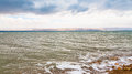 View of Dead Sea in winter morning Royalty Free Stock Photo