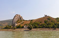 View of Devin castle from Danube River in Slovakia