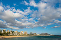 View of diamond head at dusk from ala moana beach park s magic i and waikiki on a typically sunny hawaii day Royalty Free Stock Image