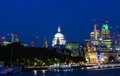 The view of the dome of Saint Paul`s Cathedral at night, City of London. Royalty Free Stock Photo