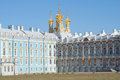 View on the domes of the resurrection Church of the Catherine Palace, april day. Tsarskoye Selo Royalty Free Stock Photo